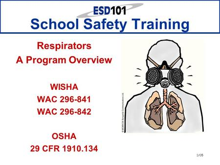 1/05 School Safety Training Respirators A Program Overview WISHA WAC 296-841 WAC 296-842 OSHA 29 CFR 1910.134.
