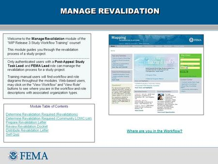 "Welcome to the Manage Revalidation module of the ""MIP Release 3 Study Workflow Training"" course! This module guides you through the revalidation process."