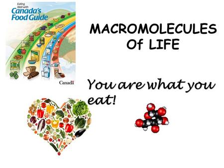 MACROMOLECULES Of LIFE You are what you eat!. Why Do We Eat?  For energy  For nutrients  For pleasure? NUTRIENTS: needed by all organisms for 1. __________.