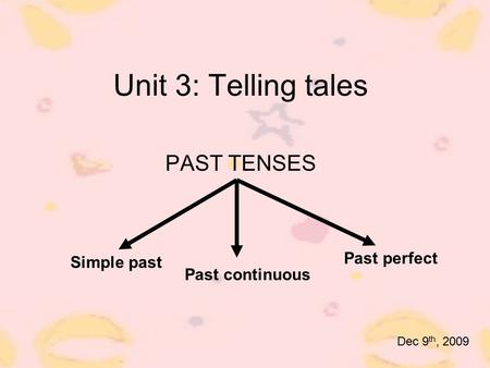 Unit 3: Telling tales PAST TENSES Past perfect Simple past