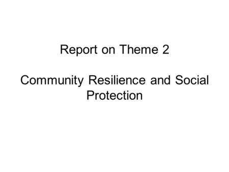 Report on Theme 2 Community Resilience and Social Protection.