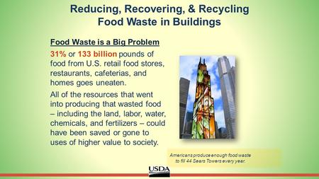 Reducing, Recovering, & Recycling Food Waste in Buildings Food Waste is a Big Problem 31% or 133 billion pounds of food from U.S. retail food stores, restaurants,
