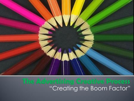 """Creating the Boom Factor"".  It is actually a step-by-step process that can be learned and used to generate original ideas."