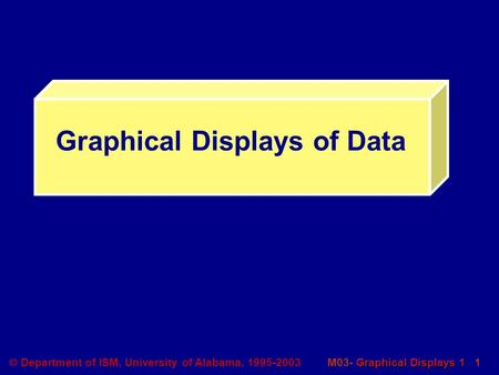 Graphical Displays 1 M03- Graphical Displays 1 1  Department of ISM, University of Alabama, 1995-2003 Graphical Displays of Data.