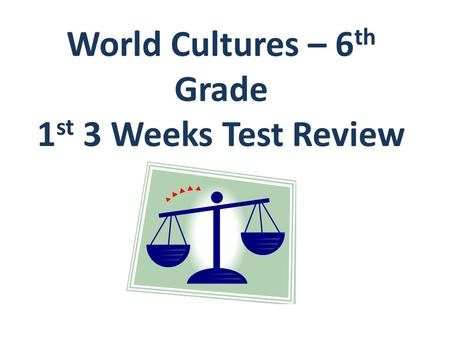 World Cultures – 6 th Grade 1 st 3 Weeks Test Review.