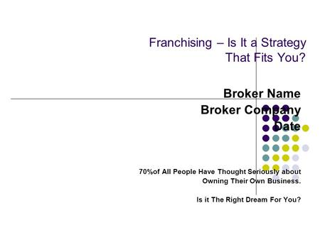 Franchising – Is It a Strategy That Fits You? Broker Name Broker Company Date 70%of All People Have Thought Seriously about Owning Their Own Business.