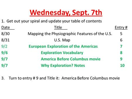 Wednesday, Sept. 7th 1. Get out your spiral and update your table of contents DateTitle Entry # 8/30Mapping the Physiographic Features of the U.S.5 8/31U.S.