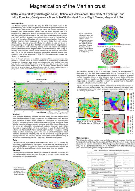 Magnetization of the Martian crust Kathy Whaler School of GeoSciences, University of Edinburgh, and Mike Purucker, Geodynamics.