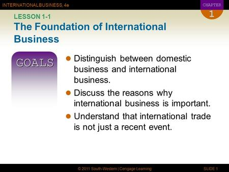 LESSON 1-1 The Foundation of International Business