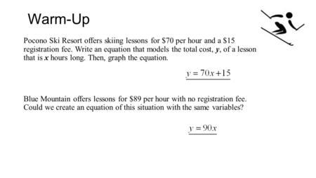Warm-Up Pocono Ski Resort offers skiing lessons for $70 per hour and a $15 registration fee. Write an equation that models the total cost, y, of a lesson.