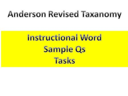 Sample Questions Task-Based Activities Define each level shallow processing, simply recalling Demonstrate understanding Knowing when and why to apply.