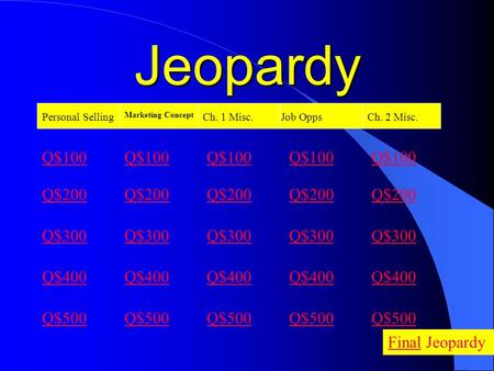 Jeopardy Personal Selling Marketing Concept Ch. 1 Misc.Job Opps Q$100 Q$200 Q$300 Q$400 Q$500 Q$100 Q$200 Q$300 Q$400 Q$500 FinalFinal Jeopardy Ch. 2.
