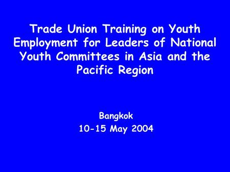 Trade Union Training on Youth Employment for Leaders of National Youth Committees in Asia and the Pacific Region Bangkok 10-15 May 2004.