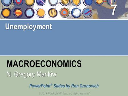 MACROECONOMICS © 2013 Worth Publishers, all rights reserved PowerPoint ® Slides by Ron Cronovich N. Gregory Mankiw Unemployment 7.