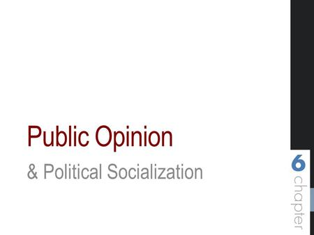 Public Opinion & Political Socialization. Objectives Define public opinion and explain its role in political decision making. Describe American political.