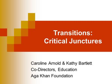 Transitions: Critical Junctures Caroline Arnold & Kathy Bartlett Co-Directors, Education Aga Khan Foundation.