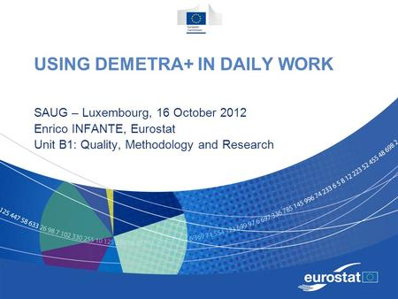USING DEMETRA+ IN DAILY WORK SAUG – Luxembourg, 16 October 2012 Enrico INFANTE, Eurostat Unit B1: Quality, Methodology and Research.