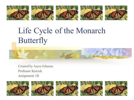 Life Cycle of the Monarch Butterfly Created by Joyce Johnson Professor Knezek Assignment 1B.