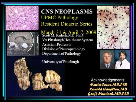 UPMC Pathology Resident Didactic Series March 31 & April 7, 2009 CNS NEOPLASMS Scott M. Kulich, MD, PhD VA Pittsburgh Healthcare System Assistant Professor.