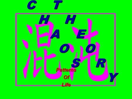 "C T H H A E O O S R Y PatternsOfLife Chaos What is Chaos? Chaos, from a static view, is ""pieces waiting to come together,"" an inchoate pattern about."