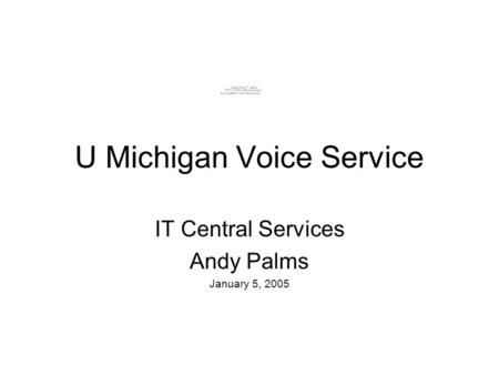U Michigan Voice Service IT Central Services Andy Palms January 5, 2005.