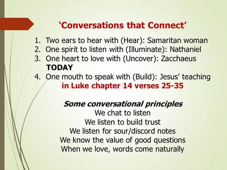 'Conversations that Connect' 1. Two ears to hear with (Hear): Samaritan woman 2. One spirit to listen with (Illuminate): Nathaniel 3.One heart to love.
