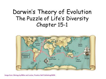 Darwin's Theory of Evolution The Puzzle of Life's Diversity Chapter 15-1 Image from: Biology by Miller and Levine; Prentice Hall Publishing©2006.