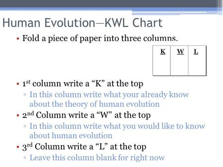 "Human Evolution—KWL Chart Fold a piece of paper into three columns. 1 st column write a ""K"" at the top ▫In this column write what your already know about."