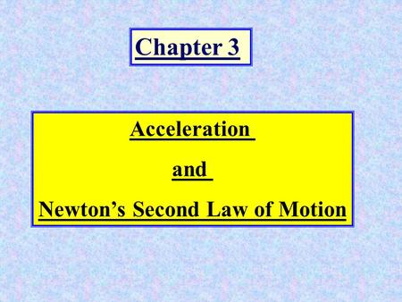 Chapter 3 Acceleration and Newton's Second Law of Motion.