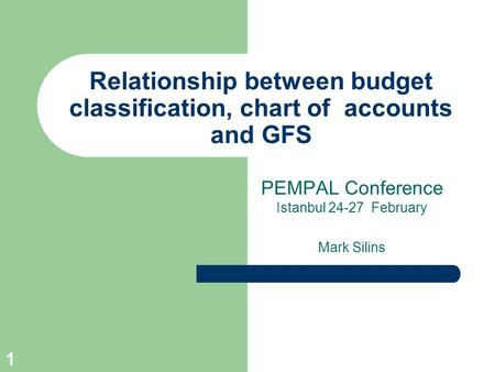 1 Relationship between budget classification, chart of accounts and GFS PEMPAL Conference Istanbul 24-27 February Mark Silins.