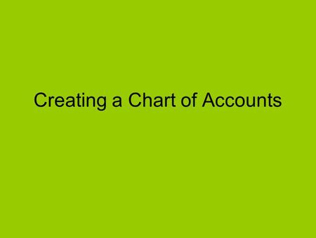 Creating a Chart of Accounts. Instructions: Prepare a chart of accounts based on the following transactions. Number the accounts appropriately.