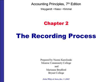 John Wiley & Sons, Inc. © 2005 Chapter 2 The Recording Process Prepared by Naomi Karolinski Monroe Community College and and Marianne Bradford Bryant.