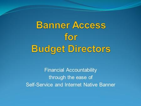 Financial Accountability through the ease of Self-Service and Internet Native Banner.