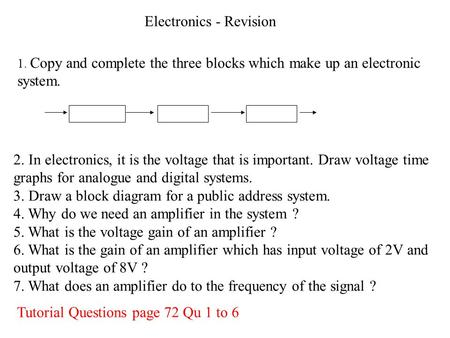 Electronics - Revision 2. In electronics, it is the voltage that is important. Draw voltage time graphs for analogue and digital systems. 3. Draw a block.