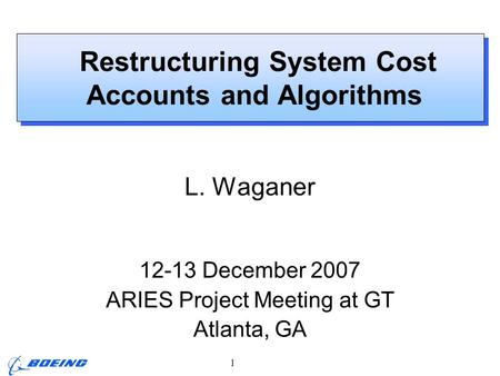 ARIES Project Meeting, L. M. Waganer, 12-13 Dec 2007 Page 1 Restructuring System Cost Accounts and Algorithms L. Waganer 12-13 December 2007 ARIES Project.