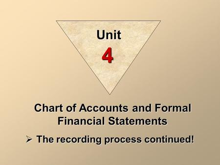 Chart of Accounts and Formal Financial Statements  The recording process continued! Unit 4.