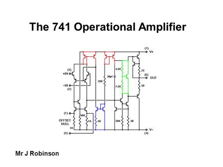 The 741 Operational Amplifier Mr J Robinson. The 741 Op-amp The most common and most famous op-amp is the mA741C or just 741, which is packaged in an.