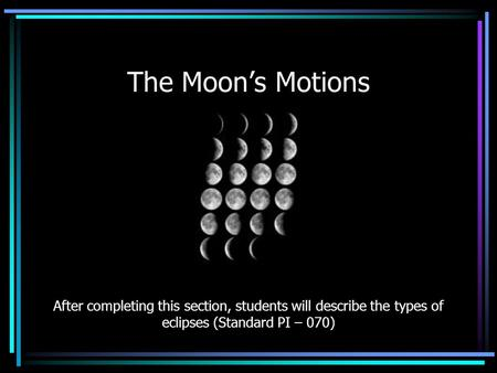 The Moon's Motions After completing this section, students will describe the types of eclipses (Standard PI – 070)