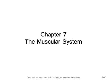 Slide 1 Mosby items and derived items © 2012 by Mosby, Inc., an affiliate of Elsevier Inc. Chapter 7 The Muscular System.