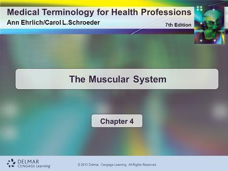 7th Edition Medical Terminology for Health Professions Ann Ehrlich/Carol L.Schroeder © 2013 Delmar, Cengage Learning. All Rights Reserved The Muscular.