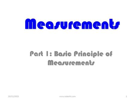 Measurements Basic Principle of Measurements Part 1: Basic Principle of Measurements 10/11/2015www.notesht.com1.