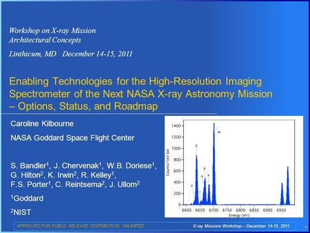 1 Workshop on X-ray Mission Architectural Concepts Linthicum, MD December 14-15, 2011 Enabling Technologies for the High-Resolution Imaging Spectrometer.