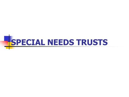 SPECIAL NEEDS TRUSTS. OVERVIEW OF PUBLIC BENEFIT PROGRAMS.
