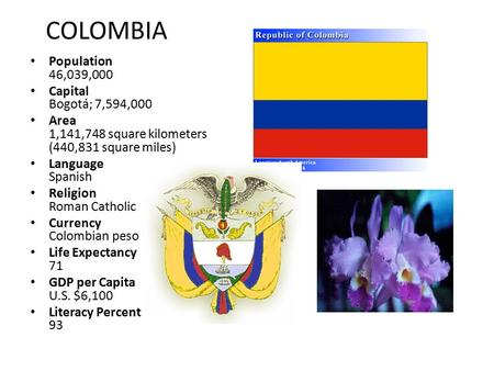 COLOMBIA Population 46,039,000 Capital Bogotá; 7,594,000 Area 1,141,748 square kilometers (440,831 square miles) Language Spanish Religion Roman Catholic.