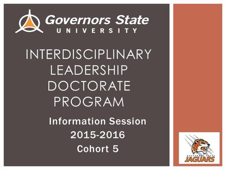 Information Session 2015-2016 Cohort 5 INTERDISCIPLINARY LEADERSHIP DOCTORATE PROGRAM.