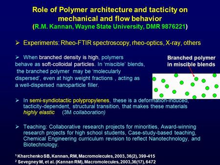 Role of Polymer architecture and tacticity on mechanical and flow behavior (R.M. Kannan, Wayne State University, DMR 9876221)  Experiments: Rheo-FTIR.