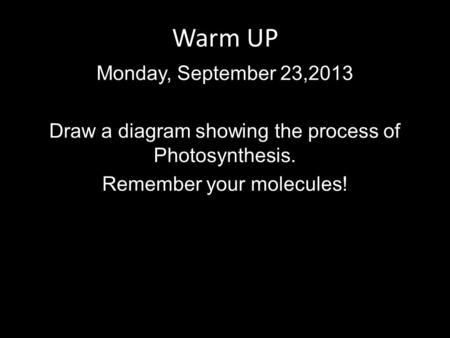 Warm UP Monday, September 23,2013 Draw a diagram showing the process of Photosynthesis. Remember your molecules!
