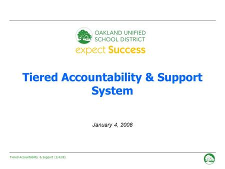 Tiered Accountability & Support (1/4/08) - 0 - Tiered Accountability & Support System January 4, 2008.