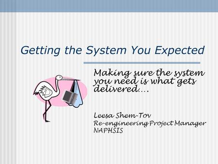 Getting the System You Expected Making sure the system you need is what gets delivered…. Leesa Shem-Tov Re-engineering Project Manager NAPHSIS.