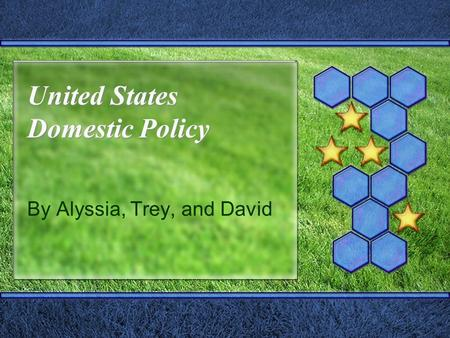 United States Domestic Policy By Alyssia, Trey, and David.